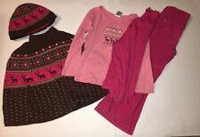 Gymboree 5 Pc Tyrolean Lure Brown pink reindeer Poncho, Hat,  shirt  Pants Sz 5T