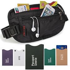 Money Belt Secret Pocket Hidden Security Travel Waist Passport Holder RFID Block