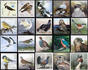 Stamp SET of ESTONIA 2001 - 2021 - Birds of Estonia (21 stamps)