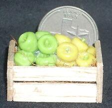 Yellow & Green Apples Crate 1:12 Food Garden Store Fruit Market Produce #2754
