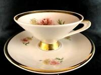 Bavaria Porcelain Chrysanthemum Footed Cup Saucer White Gold Gild