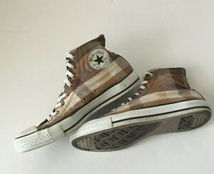 Converse Chuck Taylor High Top Brown Plaid Sneakers 109854F Mens 9 W 11 Lace Up