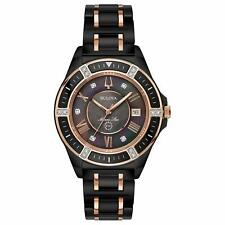 Bulova Marine Star 98R242 Diamond Black/Rose Gold 37mm Ceramic Women's Watch NWT