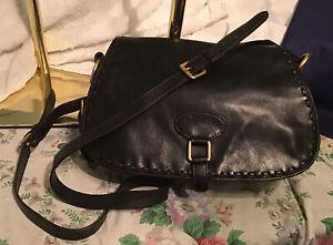 Dooney Bourke BLACK Florentine Leather Flap Saddle Bag Shoulder Bag Crossbody