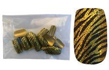 24 Faux ongles motif zèbre dorés & noirs paillettes chatoyant - vendu sans colle