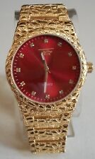 Men's Techno Pave Gold Finish/Red Dial Iced Dial Full Nugget Style Fashion Watch