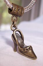High Heel Shoe Slingback Pump Bronze Dangle Bead for European Charm Bracelets