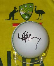 Mike Hussey signed White Cricket Ball + C.O.A. & Photo Proof of signing