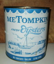 VINTAGE M E TOMPKIN BRAND; CRISFIELD, MD GALLON OYSTER TIN CAN-PACKER MD 220
