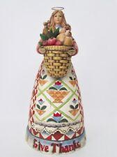 Jim Shore Heartwood Creek Give Thanks harvest angel w/basket statue figurine