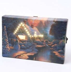 Small Festive Christmas Light up LED Canvas/snowy scene perfect for mantelpiece