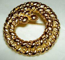 Vintage CHRISTIAN DIOR Goldtone Fancy Rope Artistic Design Circle Pin Brooch