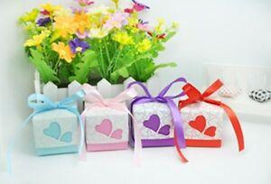 10pcs Gift Box Paper Ribbon Heart Design Wedding Favor 4 colors