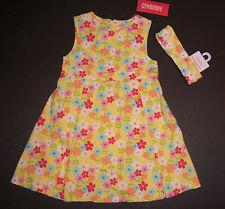 NWT Gymboree Spring Rainbow Sz 3T Yellow Floral Jumper Dress & Headband