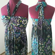 Apt.9 Stretch Ladies Size.M Eggplant & Teal Print Bandeau Halter Maxi Boho Dress