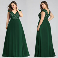 Ever-Pretty Green Plus Mother Of Bride Dress Long V-neck Lace Evening Gown 07344