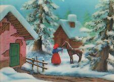 3D-Ansichtskarte Toppan Top Stereo 1990, Weihnachten Winter Pferd christmas