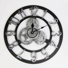 Vintage Horloge Rond Murale Bois Rouage Steampunk Industriel Rétro Style Maison