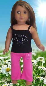 """Black Tank Top & Pink Yoga Pants made for 18"""" American Girl Doll Clothes"""