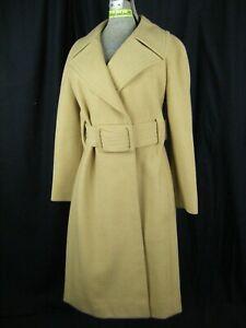 PAULINE TRIGERE Vtg 60s Designer Camel Brown Wool Mod Belt Coat-Bust 40/M, as-is