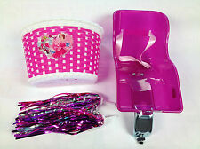 Girlie Purple Rear Dolly Bike Accessories Pack Carrier Seat Basket Tassels Set