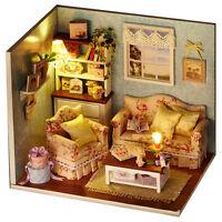 Wooden Dollhouse Miniatures Kits DIY LED Light Handicraft Toy Creative Xmas Gift