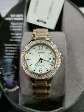 Citizen Ladies Eco-drive Crystal Accented Stainless Gold Fe1163-56a W95