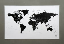 Black and White World Map Version 2 Unique Design Poster