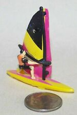Micro Machine Plastic Wind Surfer with Red, Yellow, & Black Sail