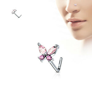1pc CZ Gem Butterfly L-Bend 20g Nose Ring Stud Screw 316L Surgical Steel
