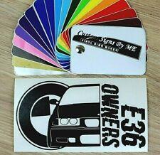 BMW E36 OWNERS Club Car Sticker Vinyl Decal Adhesive Window Bumper Tailgate BLAC