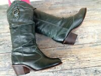 STEVE MADDEN WOMEN 9M HUNTER GREEN LEATHER SOFT SLOUCH KNEE-HIGH COWBOY BOOTS