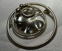 Georg Jensen Sterling Silver Leaf Circle Pin Brooch Free Shipping