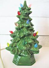 "Vintage Holland Mold Lighted Ceramic Christmas Tree 11-12"" Tall Lights Up Green"
