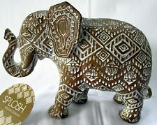 BEAUTIFUL AZTEC DESIGN LUCKY ELEPHANT STATUE WITH TRUNK UP! LOVELY HOME  DECOR!
