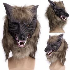 Latex Animal Wolf Head With Hair Mask Fancy Dress Costume Party Scary Halloween#