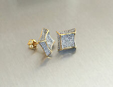 Mens 14K Gold Finish 0.5 ct. Simulated Lab Diamond Screw Back Stud Earrings 12mm