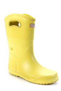 Hunter Womens Pull On Rain Ankle Boots Yellow Size 5