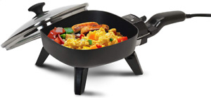 Electric Frying Pan With Glass Lid Cooking Skillet Fry Pan Small Mini Portable