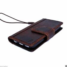 genuine leather case for iphone 4s 4 book wallet cover brown with bracket retro