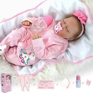 55CM  Mädchen Realistic Reborn Babypuppen Doll Handmade Vinyl Silikon Spielzeug