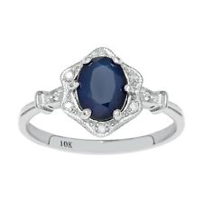 10k White Gold Vintage Style Genuine Oval Sapphire and Diamond Halo Ring