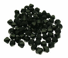 50 Black Bicone Crystal Beads from India size 8mm ideal for Jewellery Making