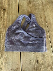 Fabulous GYMSHARK Grey & Dusty Purple Lavender Camo Print SPORTS BRA Top, Medium