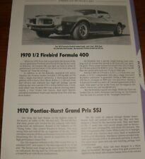 ★★1970 PONTIAC FIREBIRD FORMULA 400 SPECS INFO PHOTO 70★★