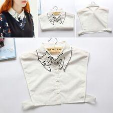 Women Cat Embroidery False Shirt Collar Detachable Fake Lapel Choker Necklace