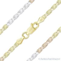 2.4mm Valentino Link Chain Necklace in Tri-Tone 925 Italy Sterling Silver 14k GP