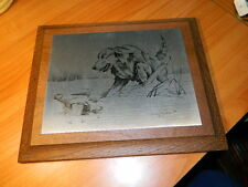 Vtg Sonny Timme '76 nature etching hunting dog & duck in water lodge cabin print