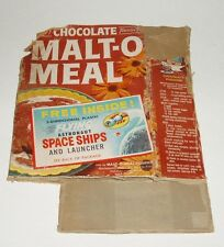 1950's Malt O Meal Cereal Box w/ UFO Astronaut Space Ship Toy offer