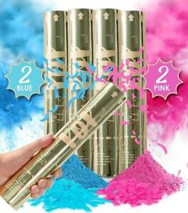 Gender Reveal Party Confetti Powder Cannon Set of 4 Blue & Pink FAST SHIP! T24